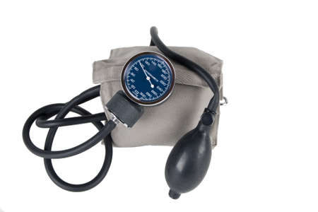 Blood pressure monitor or sphygmomanometer, medical device isolated on white Banco de Imagens
