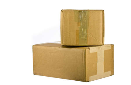 Pile of closed cardboard boxes on white background  免版税图像