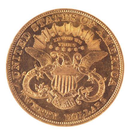 bandera estados unidos: parte trasera de EE.UU. la moneda de oro de veinte dólares Libertad sobre fondo blanco Foto de archivo