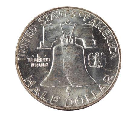 benjamin franklin: Franklin silver half-dollar isolated on white background