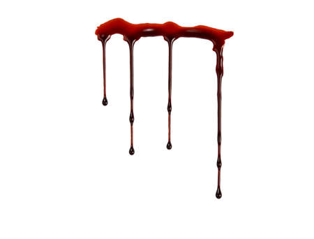 macabre: Dripping blood isolated on white