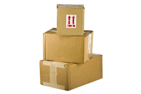 Pile of closed cardboard boxes on white background  Stock Photo - 14977041