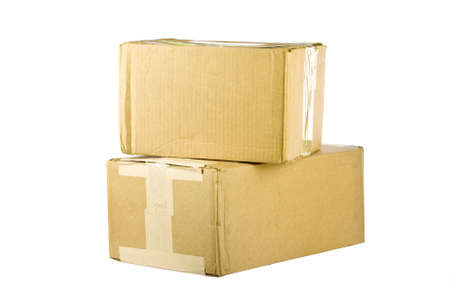 stockpiling: Pile of closed cardboard boxes on white background  Stock Photo