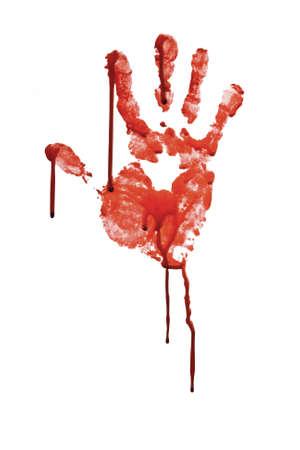 피 묻은 손을 화이트 격리 인쇄