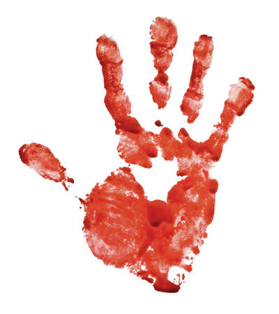 Bloody hand-print isolated on white Stock Photo - 14976830