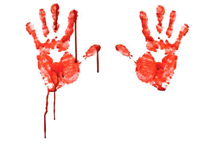 blood splatter: Bloody hand-prints isolated on white