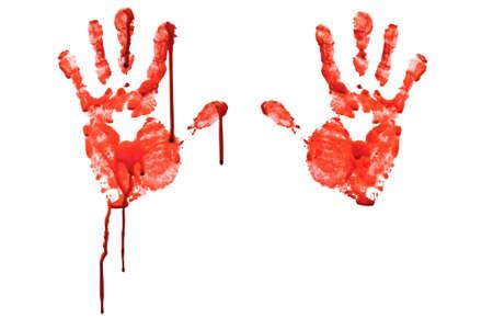 bloody hand print: Sangriento mano-prints aislado en blanco