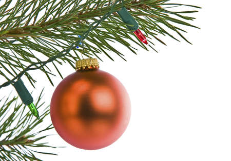 christmas decorations on pine branch isolated on white  photo