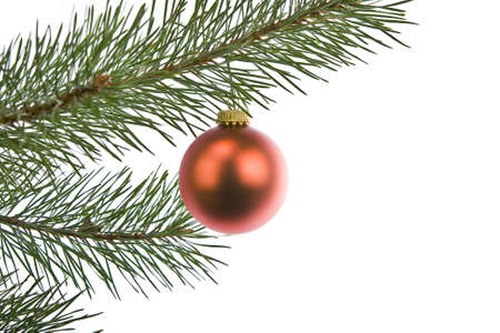 christmas decorations on pine branch isolated on white Stock Photo - 14976672