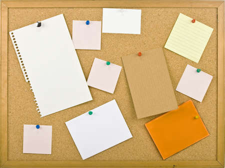 postit: Cork bulletin board with notes   Stock Photo