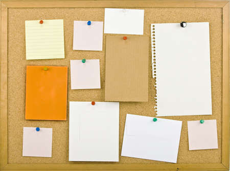 cork board: Cork bulletin board with notes   Stock Photo