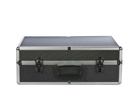 Black padded aluminum briefcase isolated on white  Stock Photo