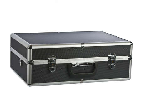 attache: Black padded aluminum briefcase isolated on white  Stock Photo
