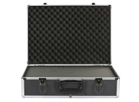 brief case: Black padded aluminum briefcase isolated on white  Stock Photo