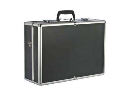padded: Black padded aluminum briefcase isolated on white