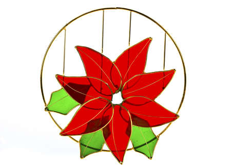 Christmas Flower, Red Poinsettias with green leaves stained glass isolated on white