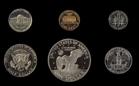 president: United states proof coins isolated