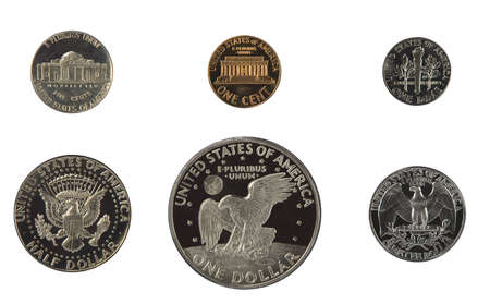 dime: United states proof coins isolated