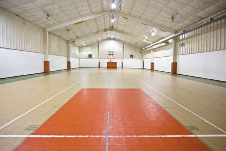 indoors:  basketball court indoors