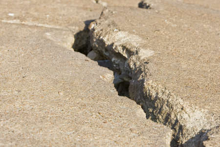 driveways: Cracked road concrete close up  Stock Photo