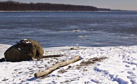 Missouri river on snowy day photo