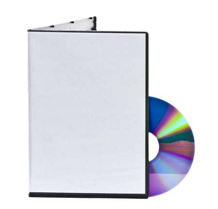 estuche: Blanco caja del DVD y el disco con espacio para el texto Foto de archivo