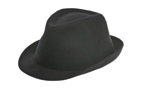 fedora: Black fedora hat isolated on white Stock Photo