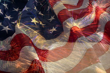 us government: American flag background and fireworks montage
