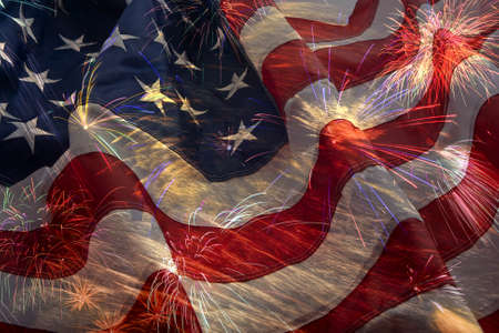 American flag background and fireworks montage Stock Photo
