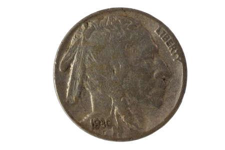 nickel: vintage nickel isolated on white Stock Photo