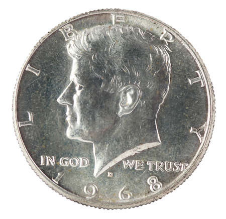 jfk: John F Kennedy Half Dollar isolated on white