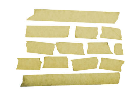 grungy looking masking tape close up isolated on white  photo