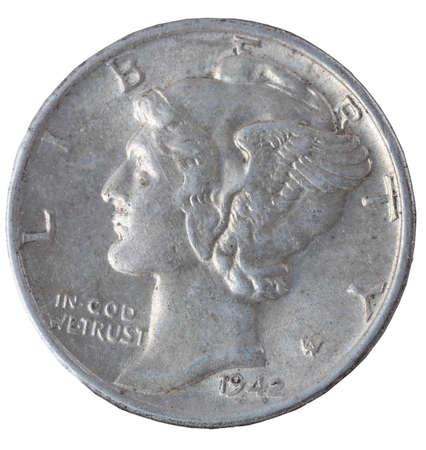 dime: Vintage mercury dime isolated on white