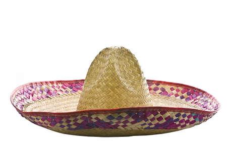 sombrero: Een Mexicaanse sombrero geïsoleerd op een witte achtergrond