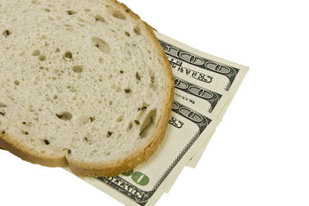 money sandwiched concept cost of food  Stock Photo - 14909942