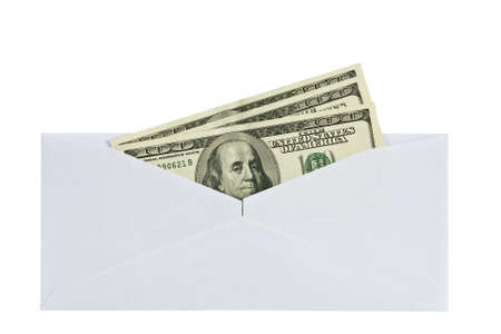 envelope: open a paper envelope with hundred dollar bills   isolated on white