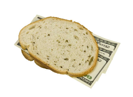 money sandwiched concept cost of food  Stock Photo - 14909669