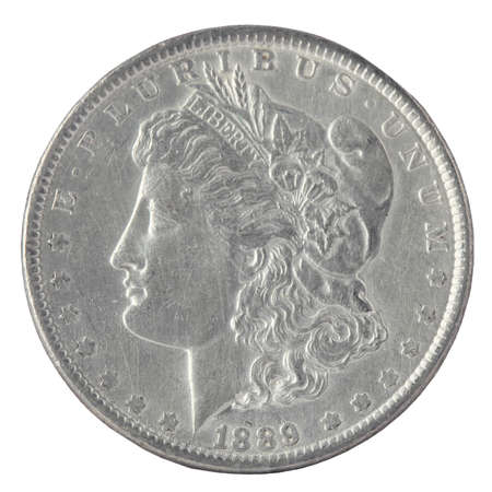 coin silver: US Morgan Silver Dollar isolated on white