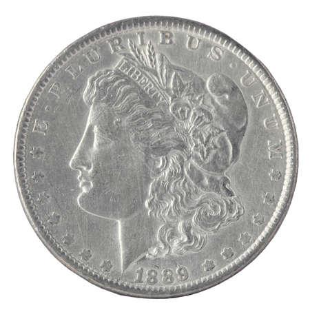 monete antiche: US Morgan Silver Dollar isolato su bianco Archivio Fotografico