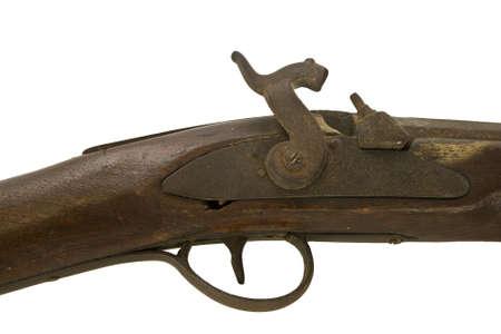 Antique muzzle loading firearm isolated Stock Photo