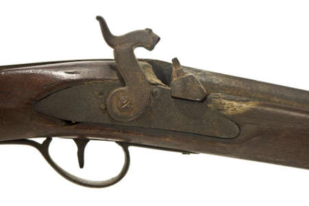 old rifle: Antique muzzle loading firearm isolated Stock Photo