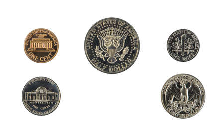 obverse: 1971 US coin proof set back side isolated on white