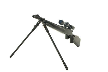 Rifle with scope and bi-pod isolated on white Stok Fotoğraf