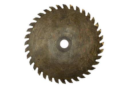 roestige cirkelzaagblad op wit wordt geïsoleerd