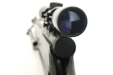 Rifle with scope close up