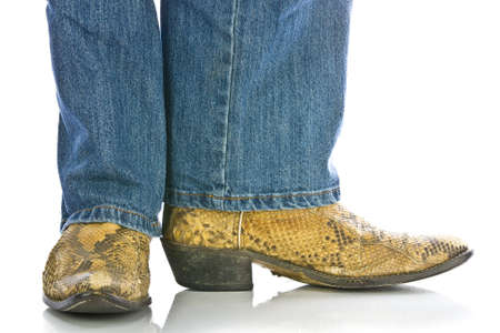 snakeskin: Legs in Jeans and snakeskin Cowboys Boots