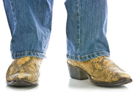 long pants: Legs in Jeans and snakeskin Cowboys Boots