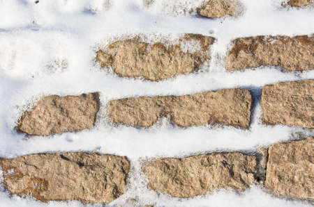 snow covered brick wall close up Stock Photo - 14910674