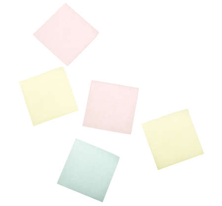 small group of object: blank post it notes isolated on white