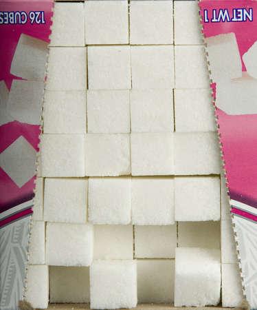 Sugar cubes in a box photo